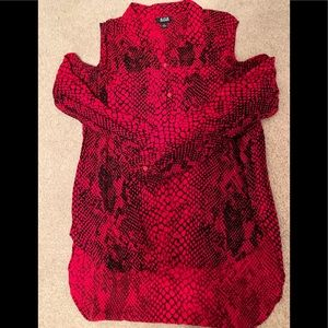 Red Snakeskin Print Hi - Lo Button Up